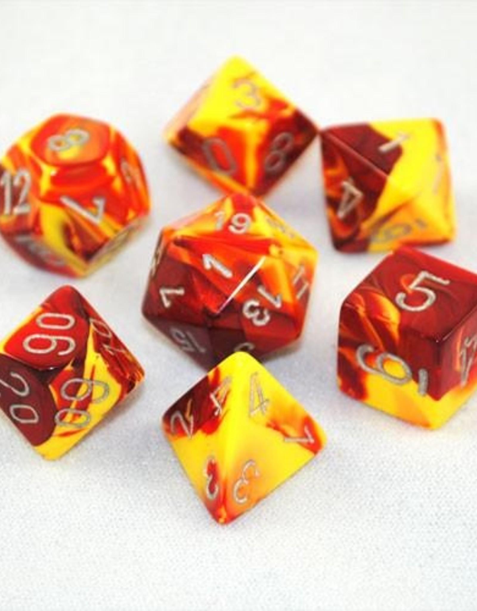 Chessex Chessex 7-Die set Gemini - Red-Yellow/Silver