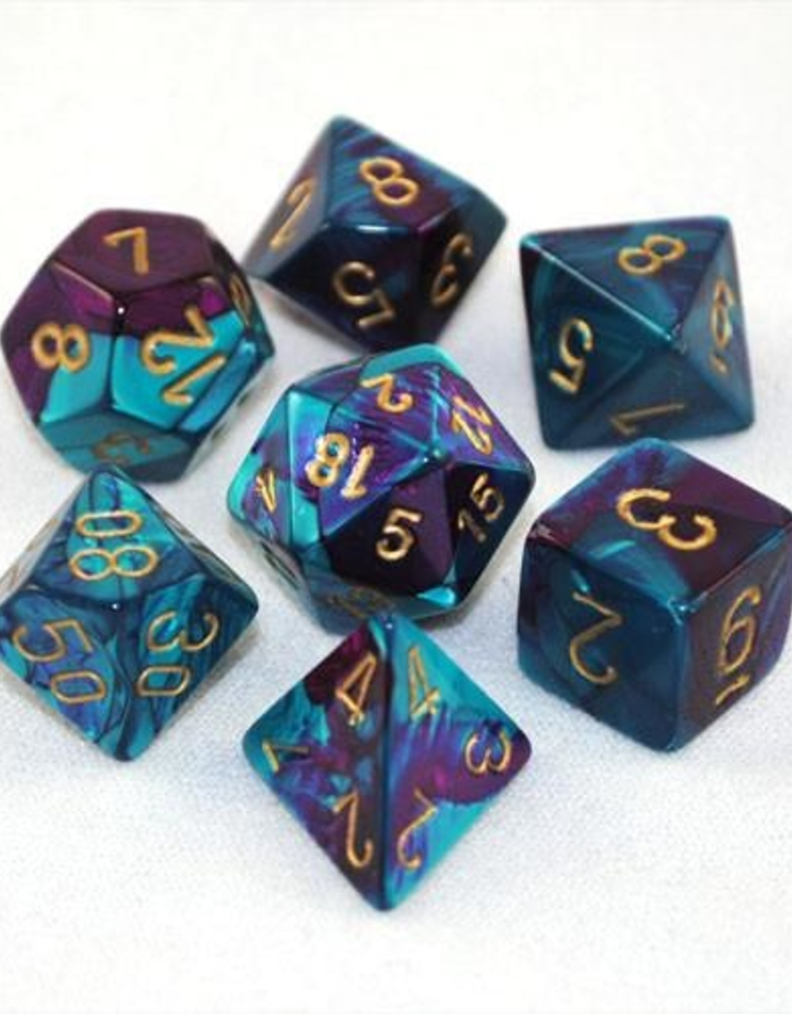 Chessex Chessex 7-Die set Gemini - Purple-Teal/Gold