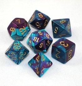 Chessex Chessex 7-Die set Gemini - Purple-Teal/Gold