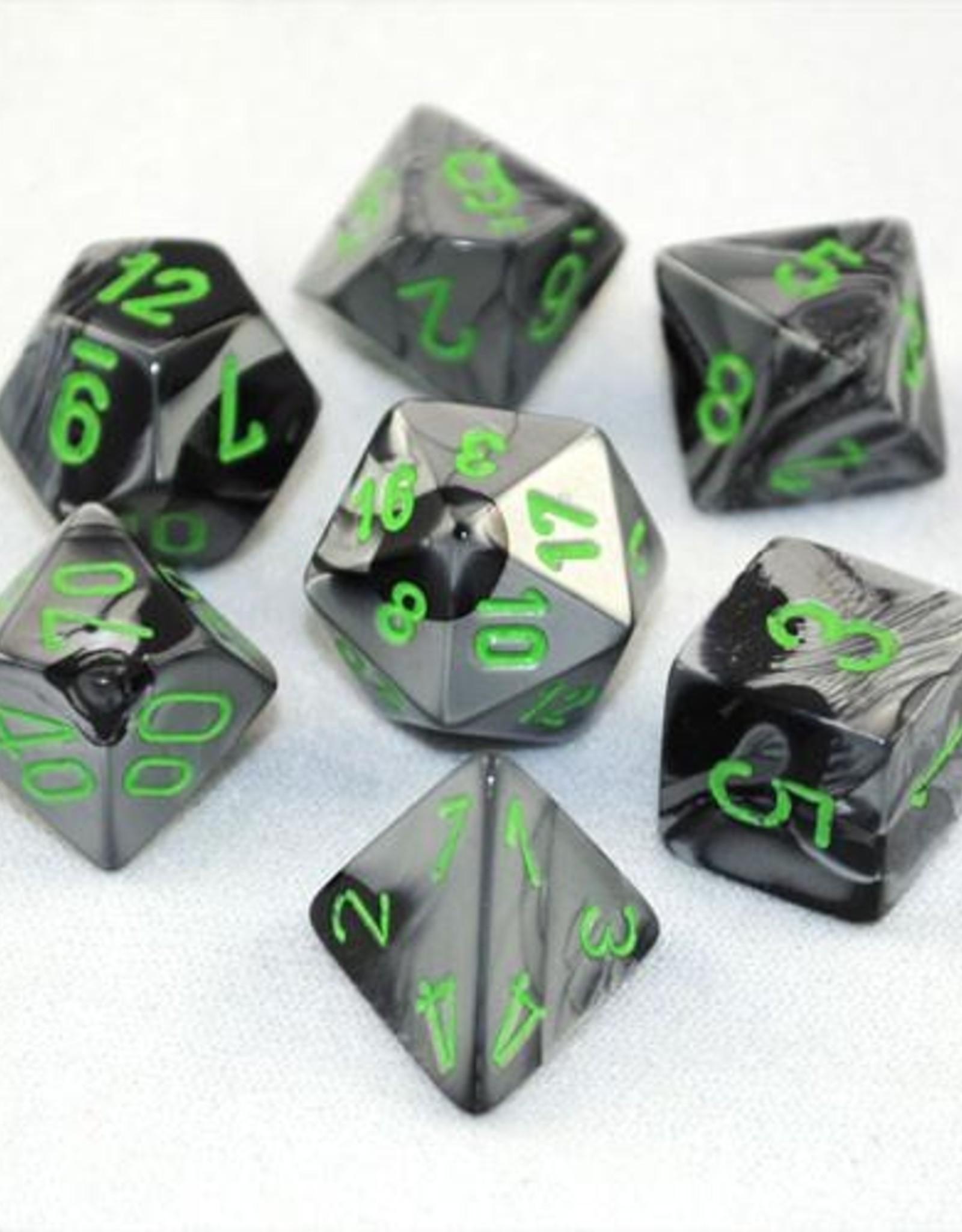 Chessex Chessex 7-Die set Gemini - Black-Grey/Green