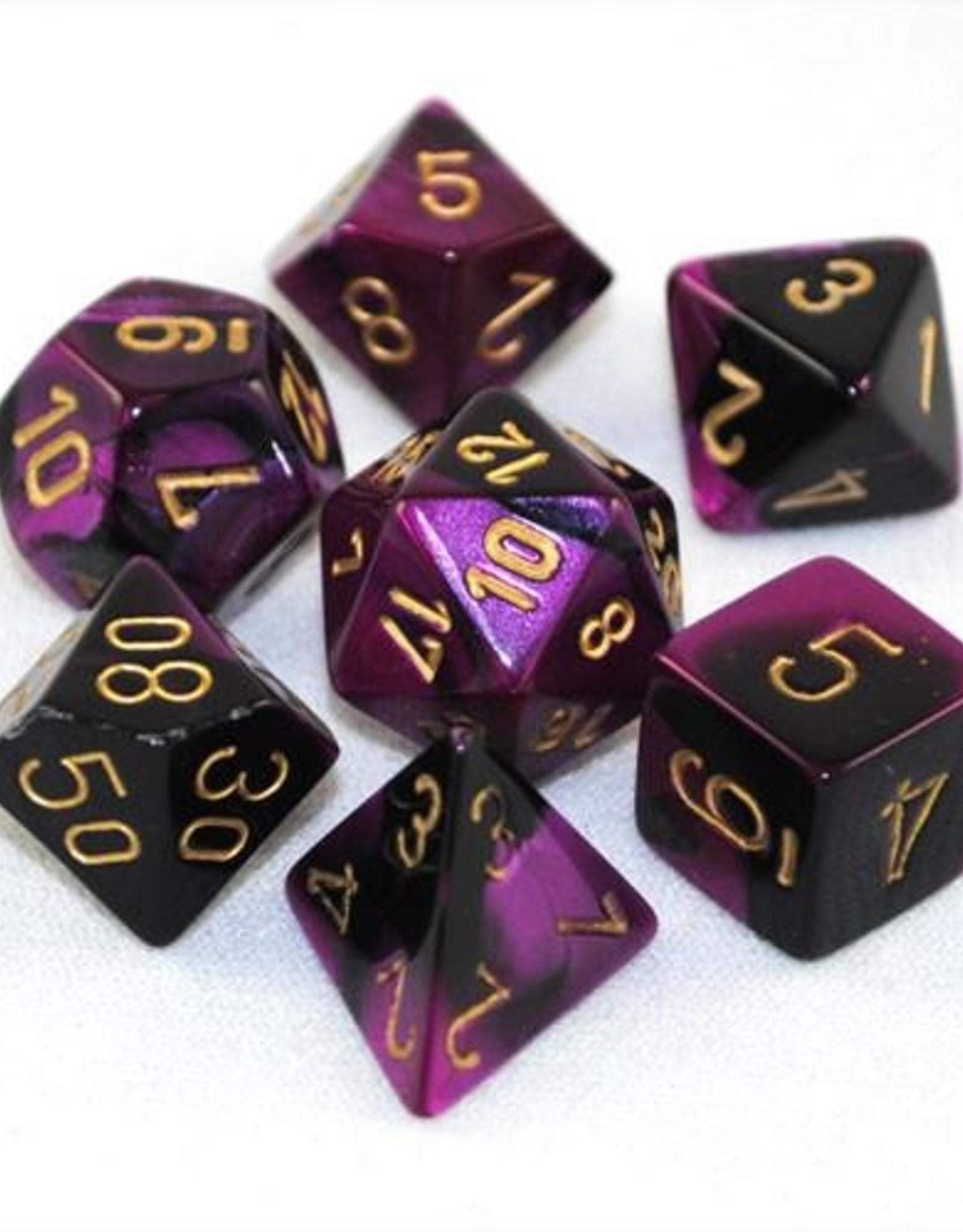 Chessex Chessex 7-Die set Gemini - Black-Purple/Gold
