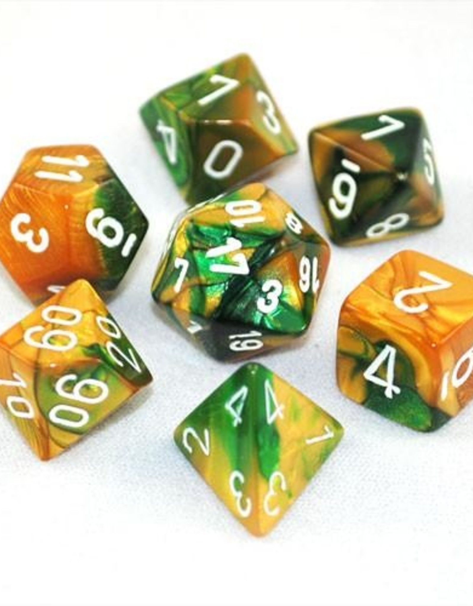 Chessex Chessex 7-Die set Gemini - Gold-Green/White