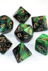 Chessex Chessex 7-Die set Gemini - Black-Green/Gold