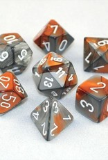 Chessex Chessex 7-Die set Gemini - Copper-Steel/White