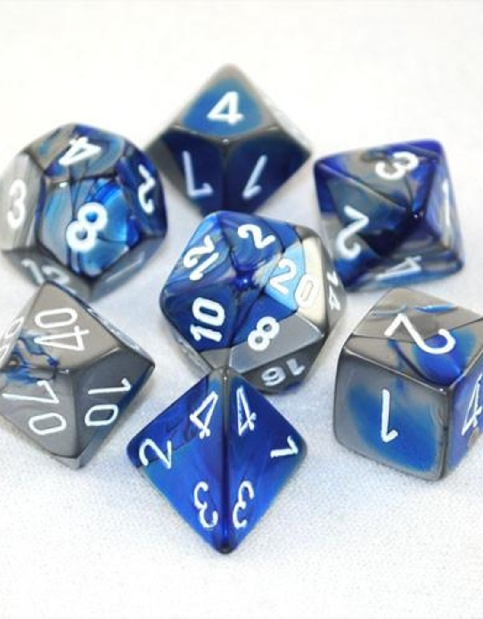 Chessex Chessex 7-Die set Gemini - Blue-Steel/White