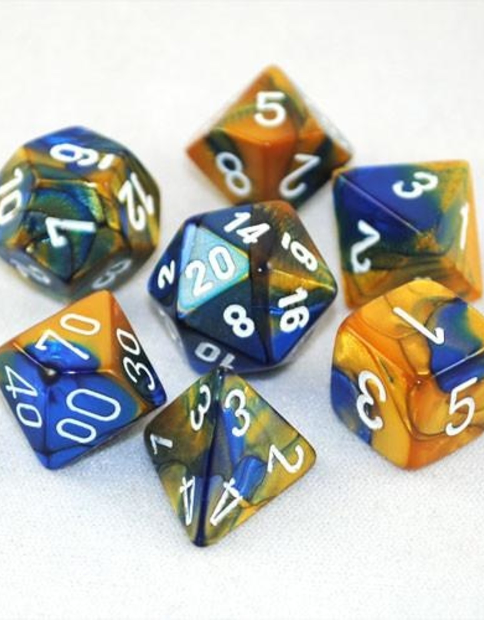 Chessex Chessex 7-Die set Gemini - Blue-Gold/White