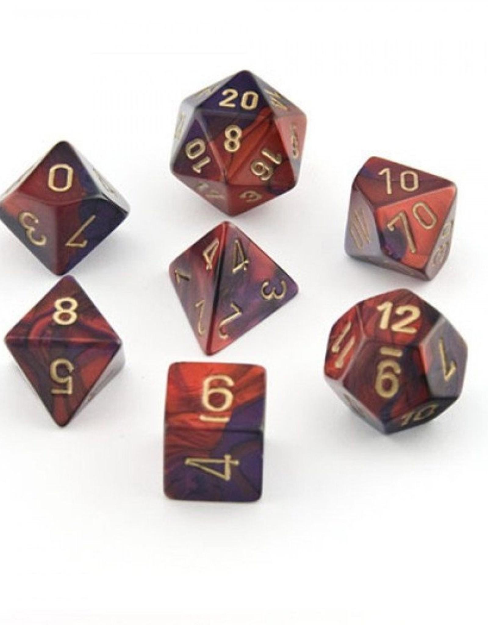 Chessex Chessex 7-Die set Gemini - Purple-Red/Gold