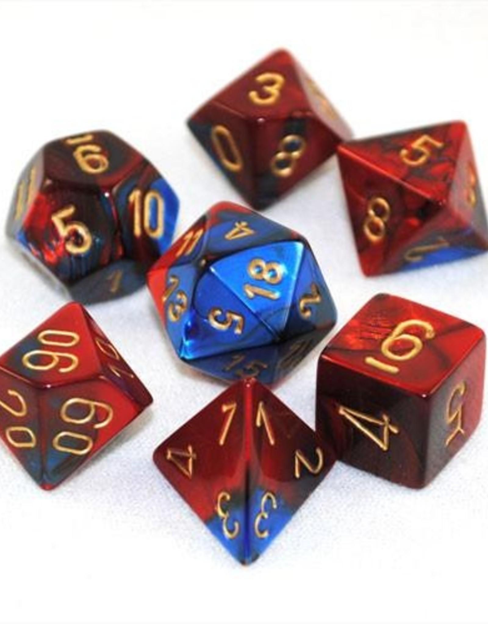 Chessex Chessex 7-Die set Gemini - Blue-Red/Gold