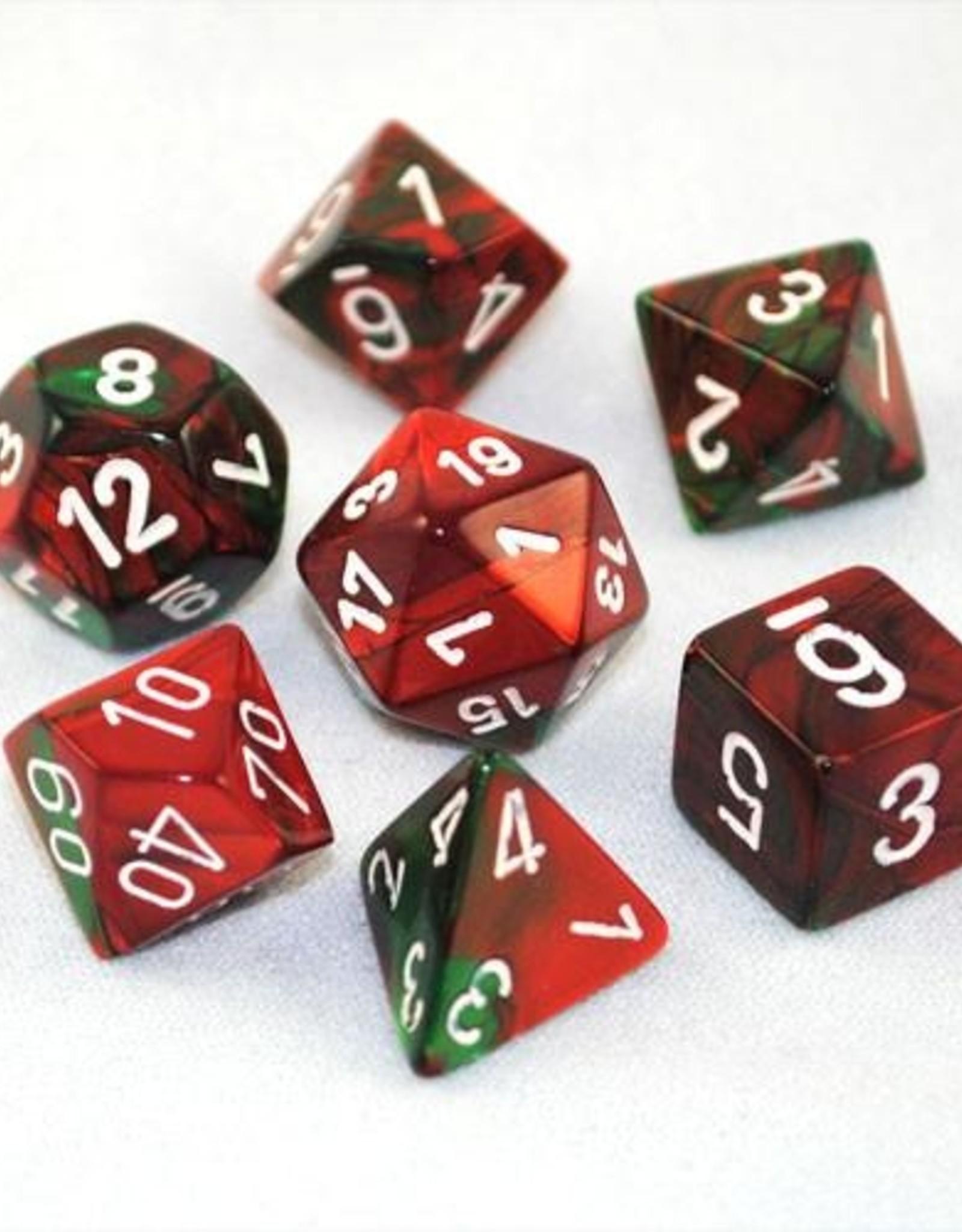 Chessex Chessex 7-Die set Gemini - Green-Red/White