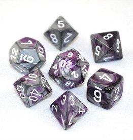 Chessex Chessex 7-Die set Gemini - Purple-Steel/White