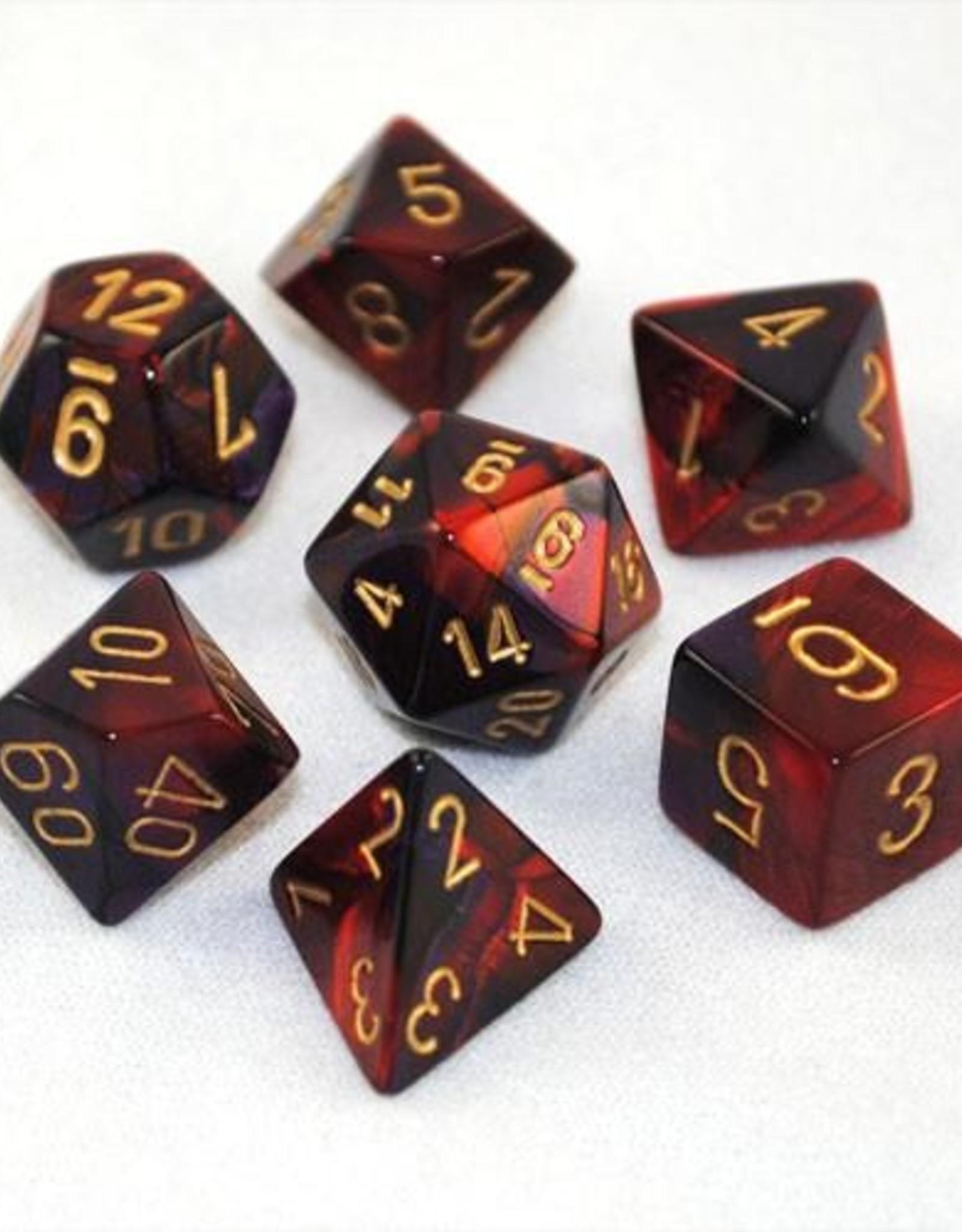 Chessex Chessex 7-Die set Gemini - Black-Red/Gold