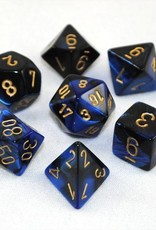 Chessex Chessex 7-Die set Gemini - Black-Blue/Gold