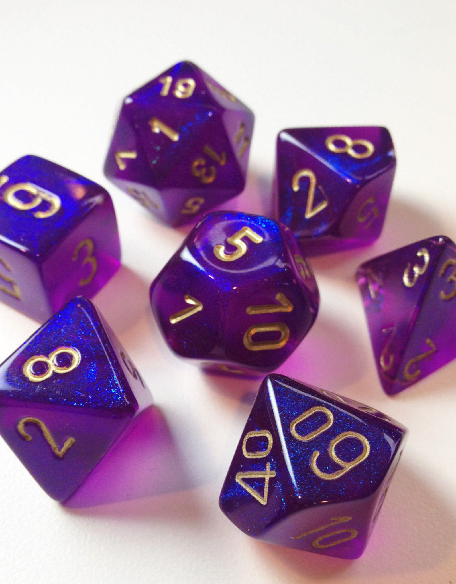 Chessex Chessex 7-Die set Borealis - Royal Purple/Gold