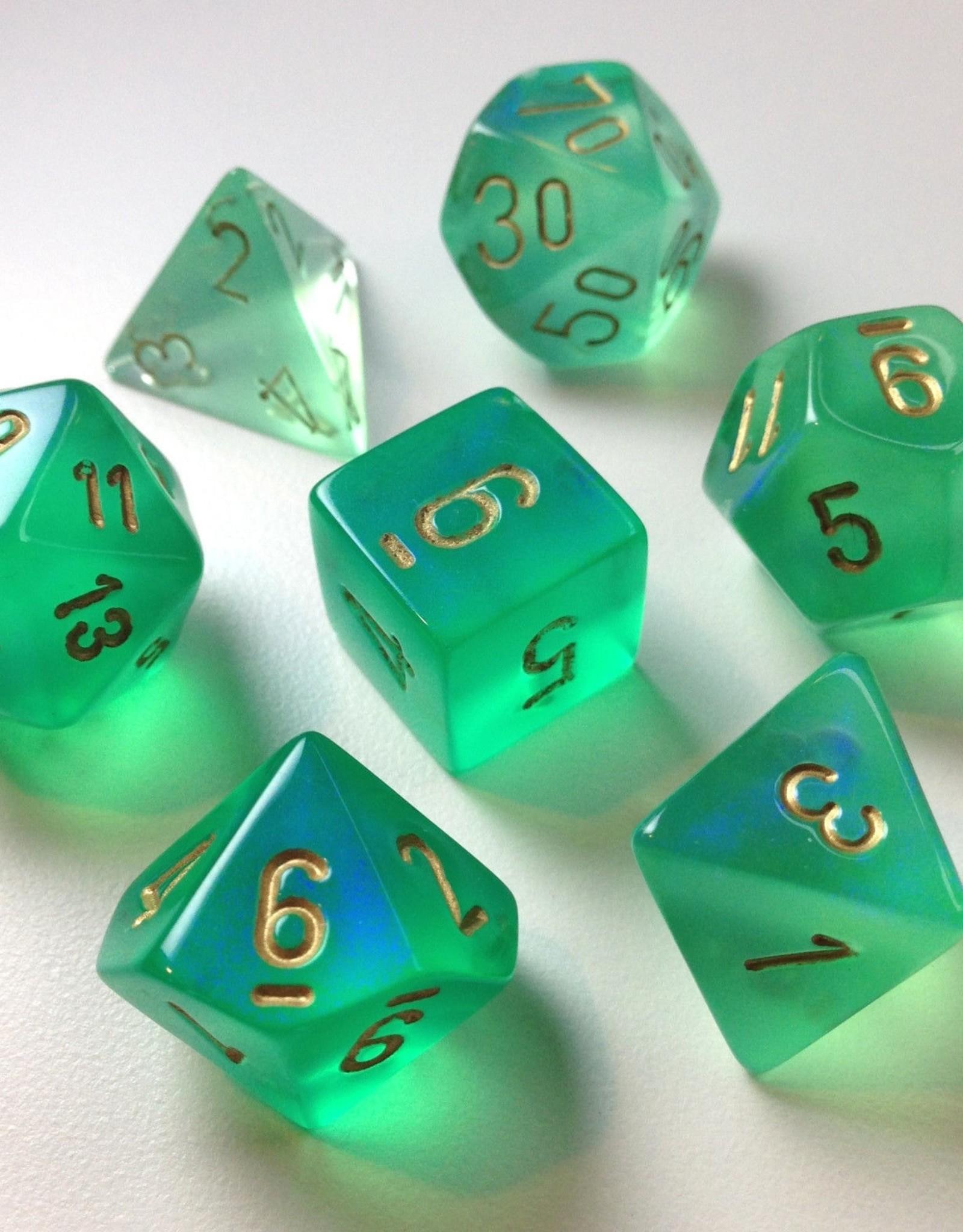 Chessex Chessex 7-Die set Borealis - Light Green/Gold
