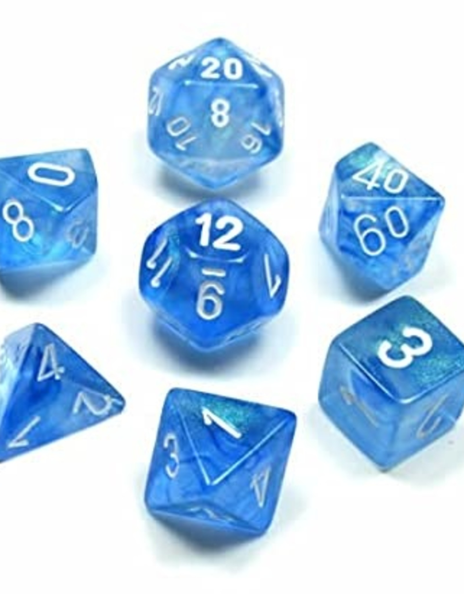 Chessex Chessex 7-Die set Borealis - Sky Blue/White