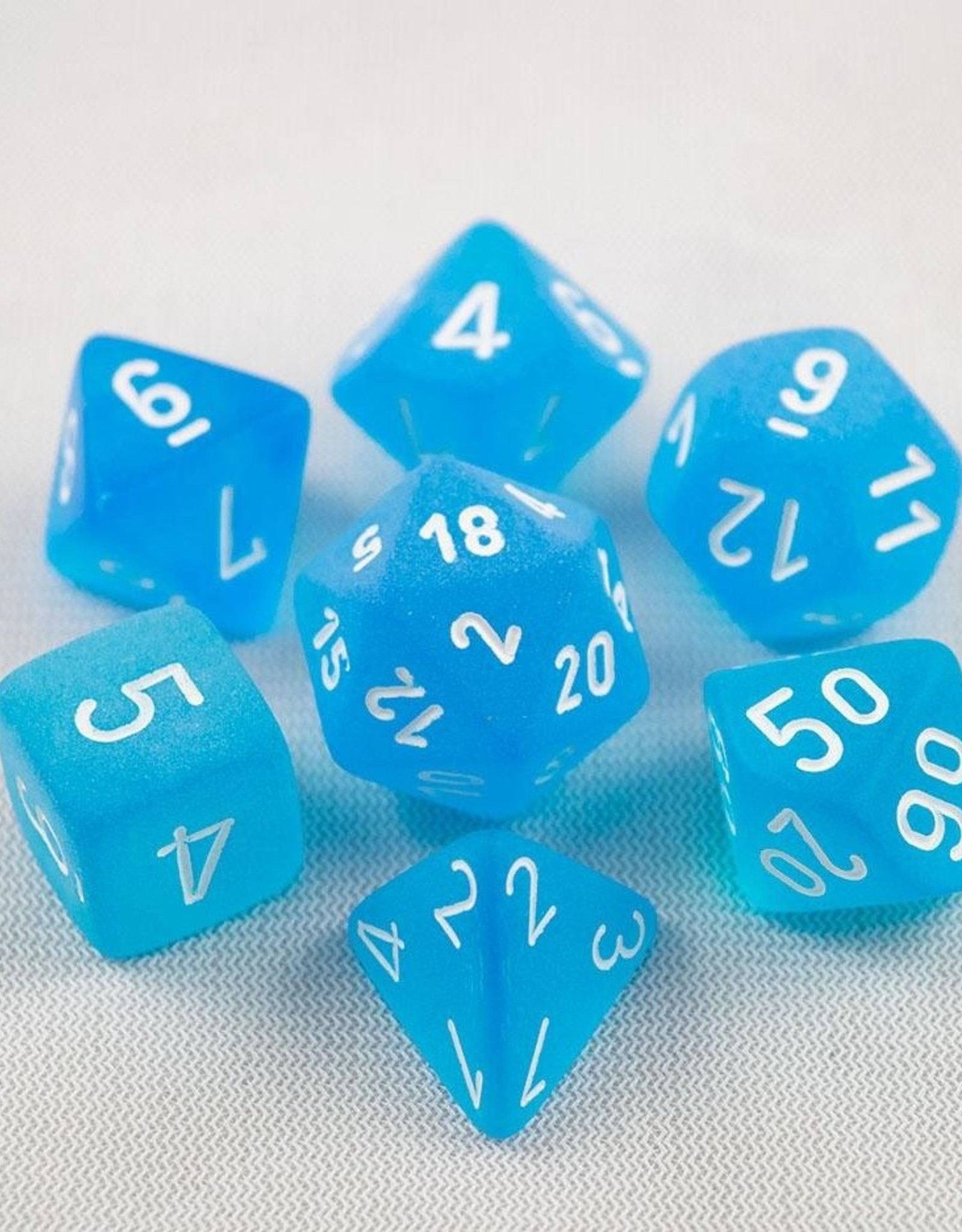 Chessex Chessex 7-Die set Frosted - Caribbean Blue/White