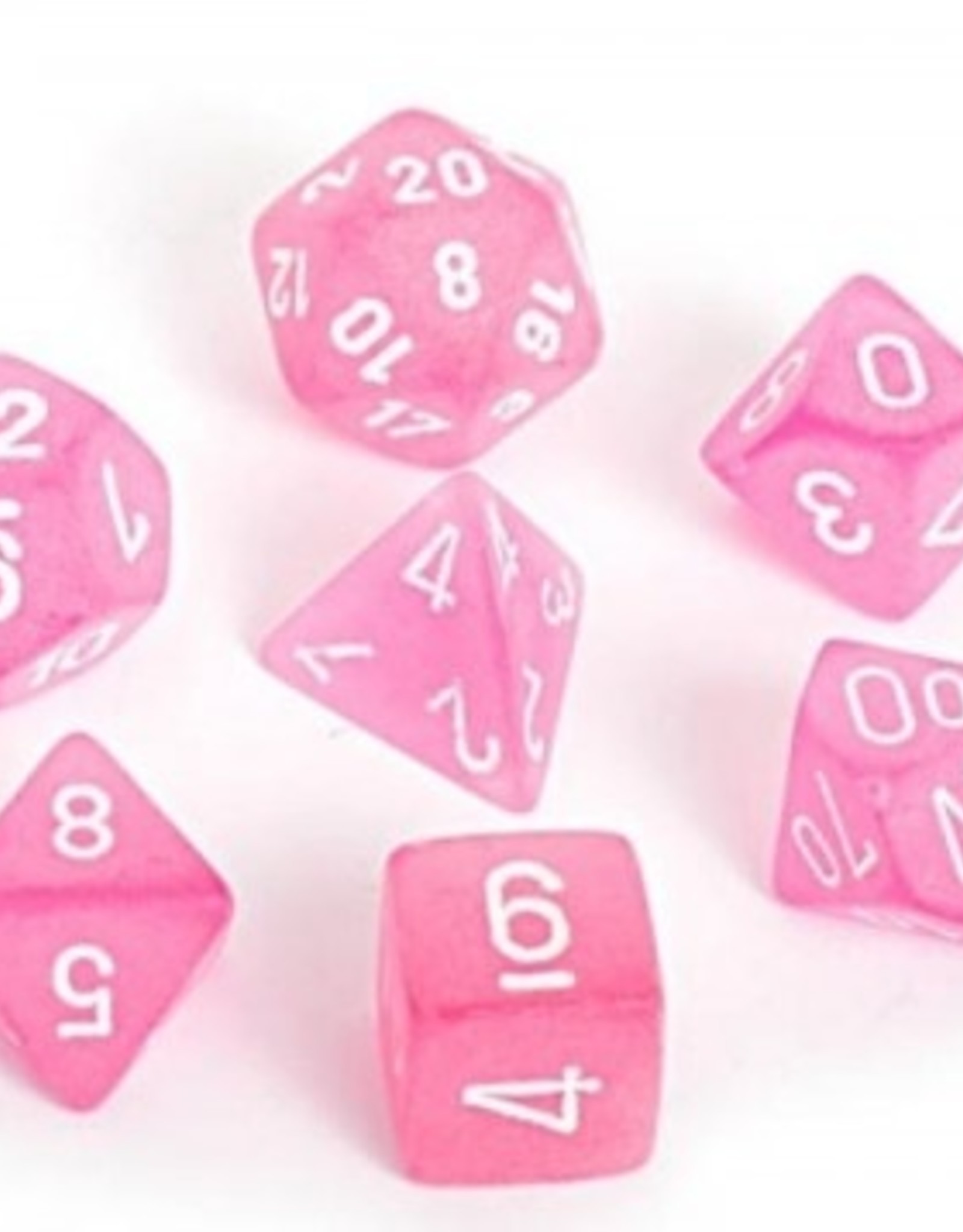 Chessex Chessex 7-Die set Frosted - Pink/White