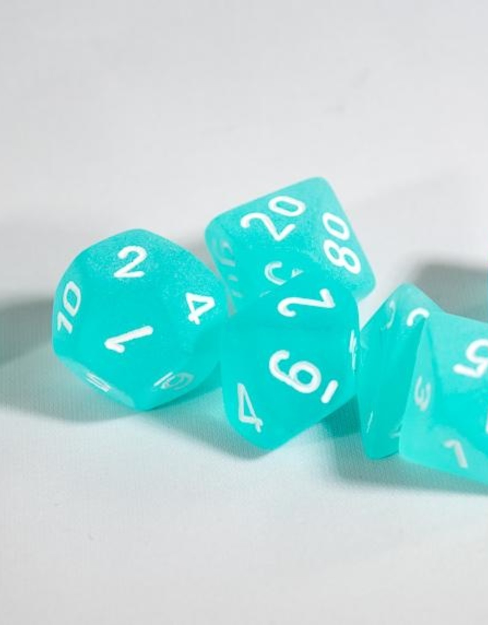 Chessex Chessex 7-Die set Frosted - Teal/White