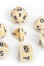Chessex Chessex 7-Die set Marble - Ivory/Black