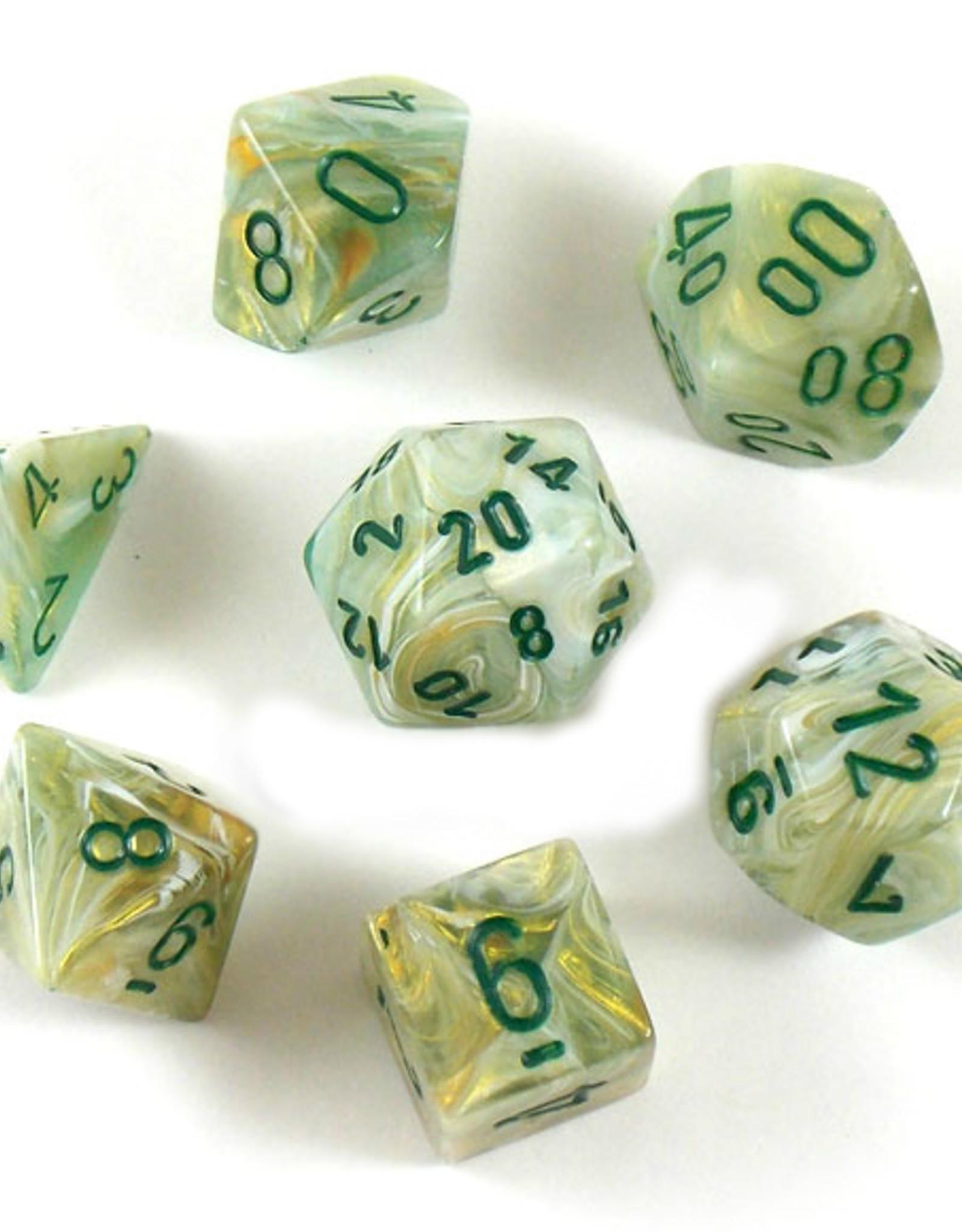 Chessex Chessex 7-Die set Marble - Green/Dark Green