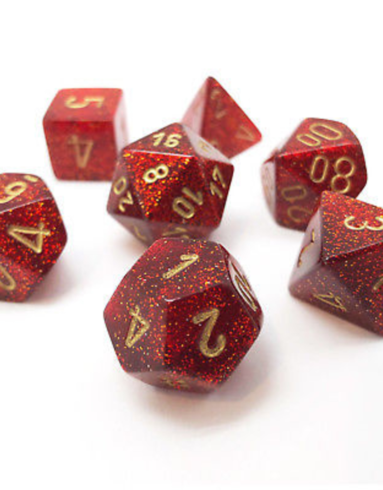 Chessex Chessex 7-Die set Glitter - Ruby Red/Gold
