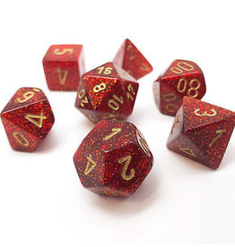 Chessex Chessex 7-Die set Glitter - Ruby Red/Gold