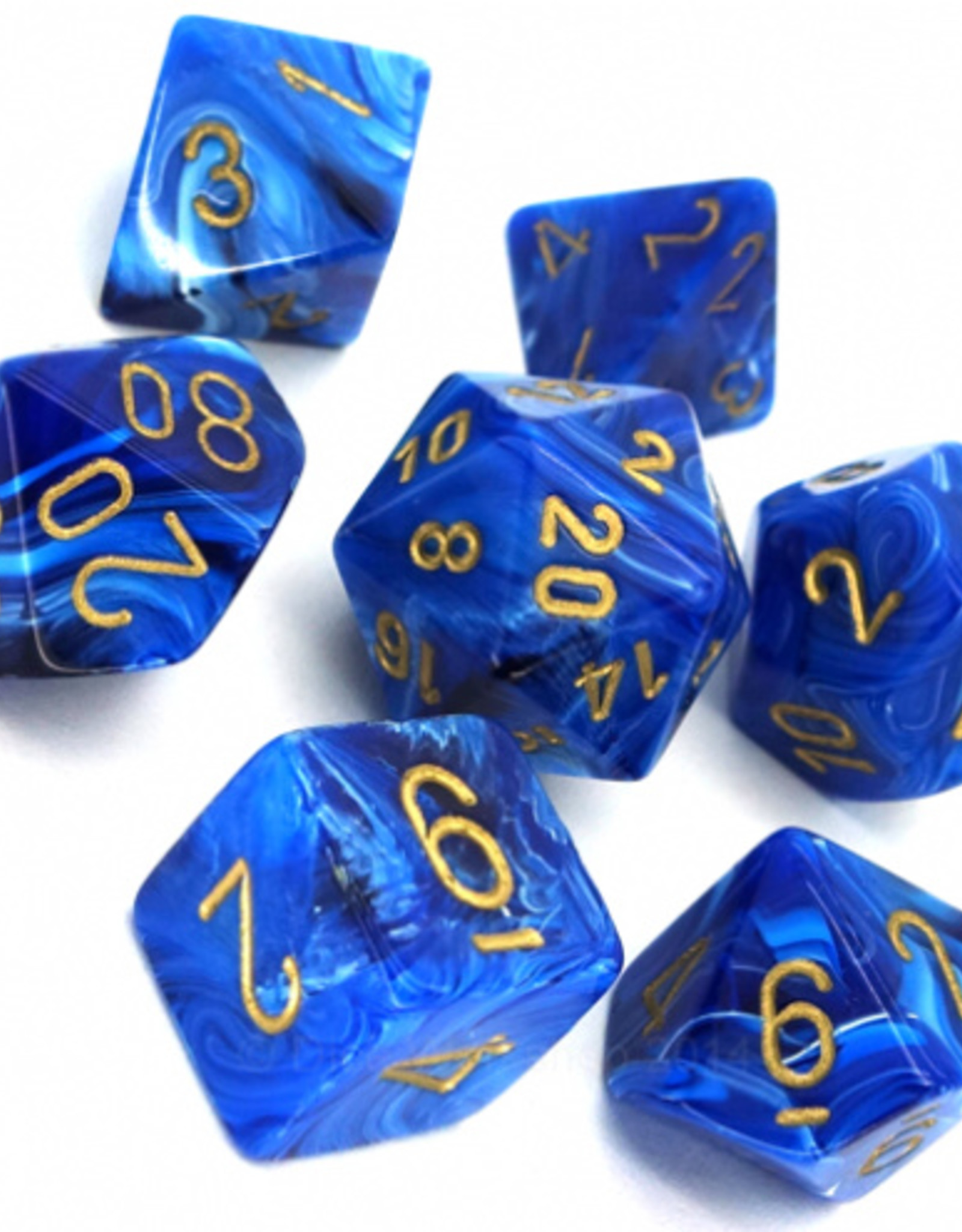Chessex Chessex 7-Die set Vortex - Blue/Gold