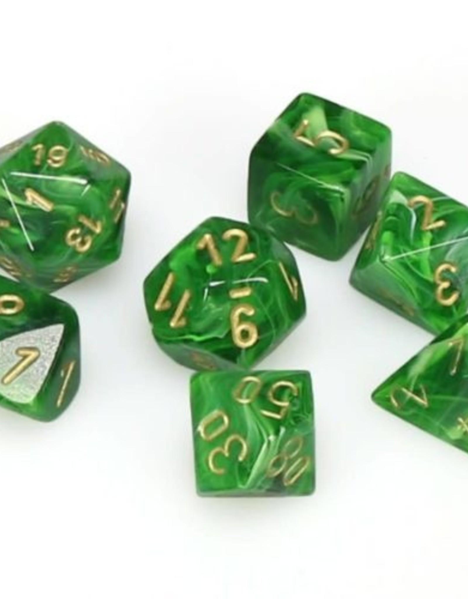 Chessex Chessex 7-Die set Vortex - Green/Gold