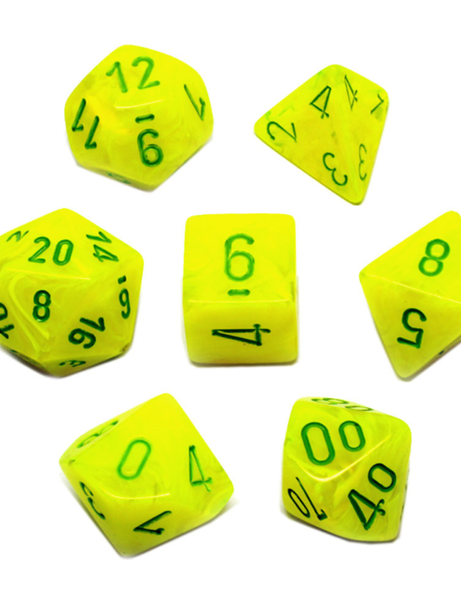 Chessex Chessex 7-Die set Vortex - Electric Yellow/Green