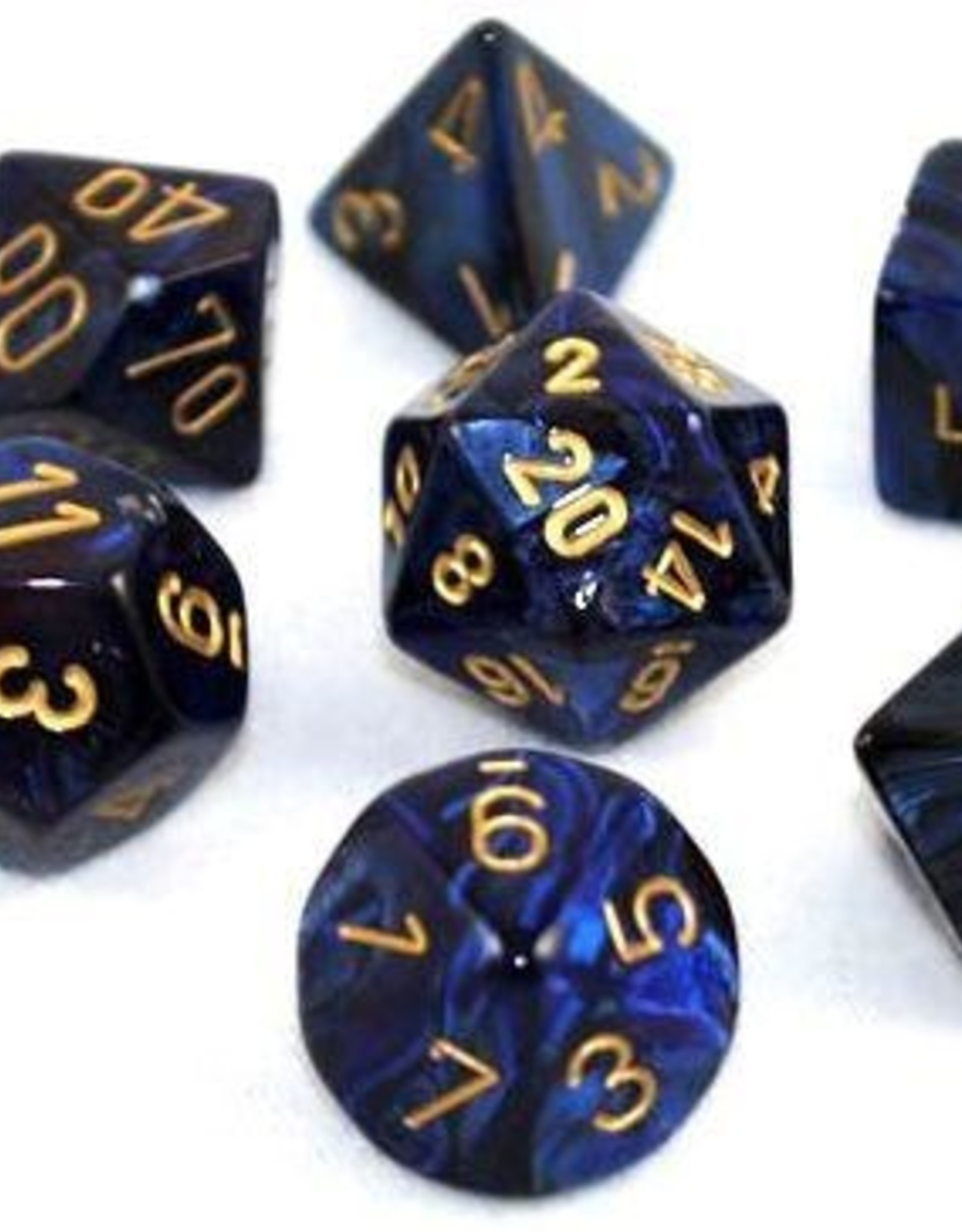 Chessex Chessex 7-Die set Scarab - Royal Blue/Gold