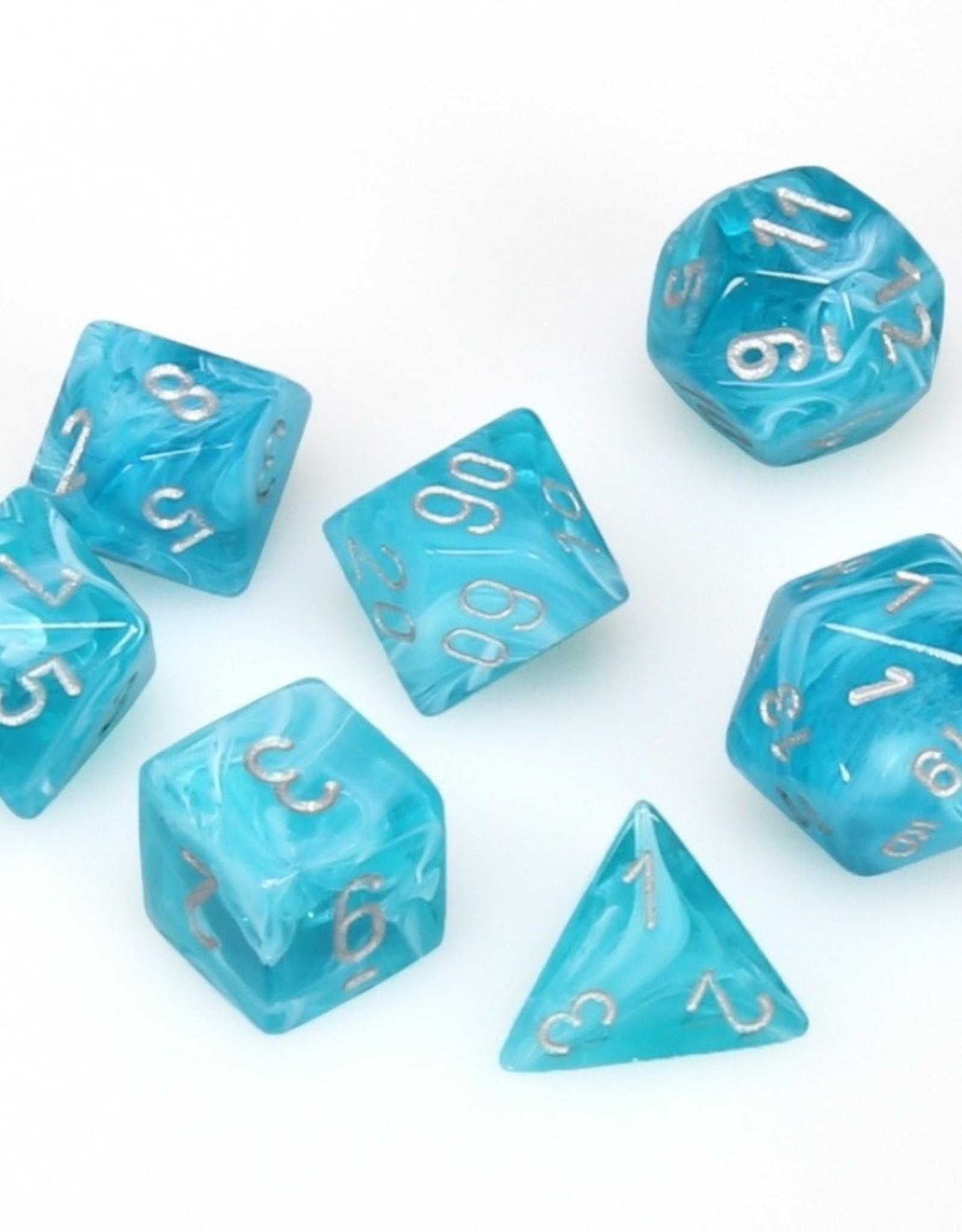 Chessex Chessex 7-Die set Cirrus - Aqua/Silver