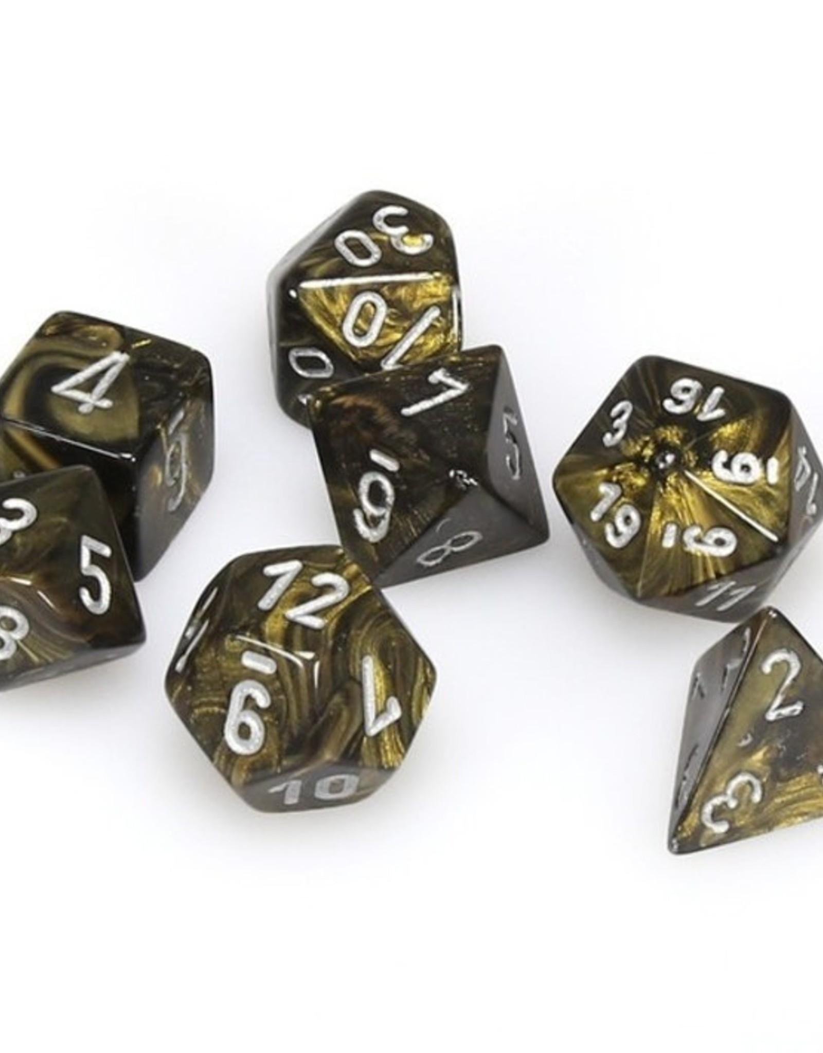 Chessex Chessex 7-Die set Leaf - Black Gold/Silver