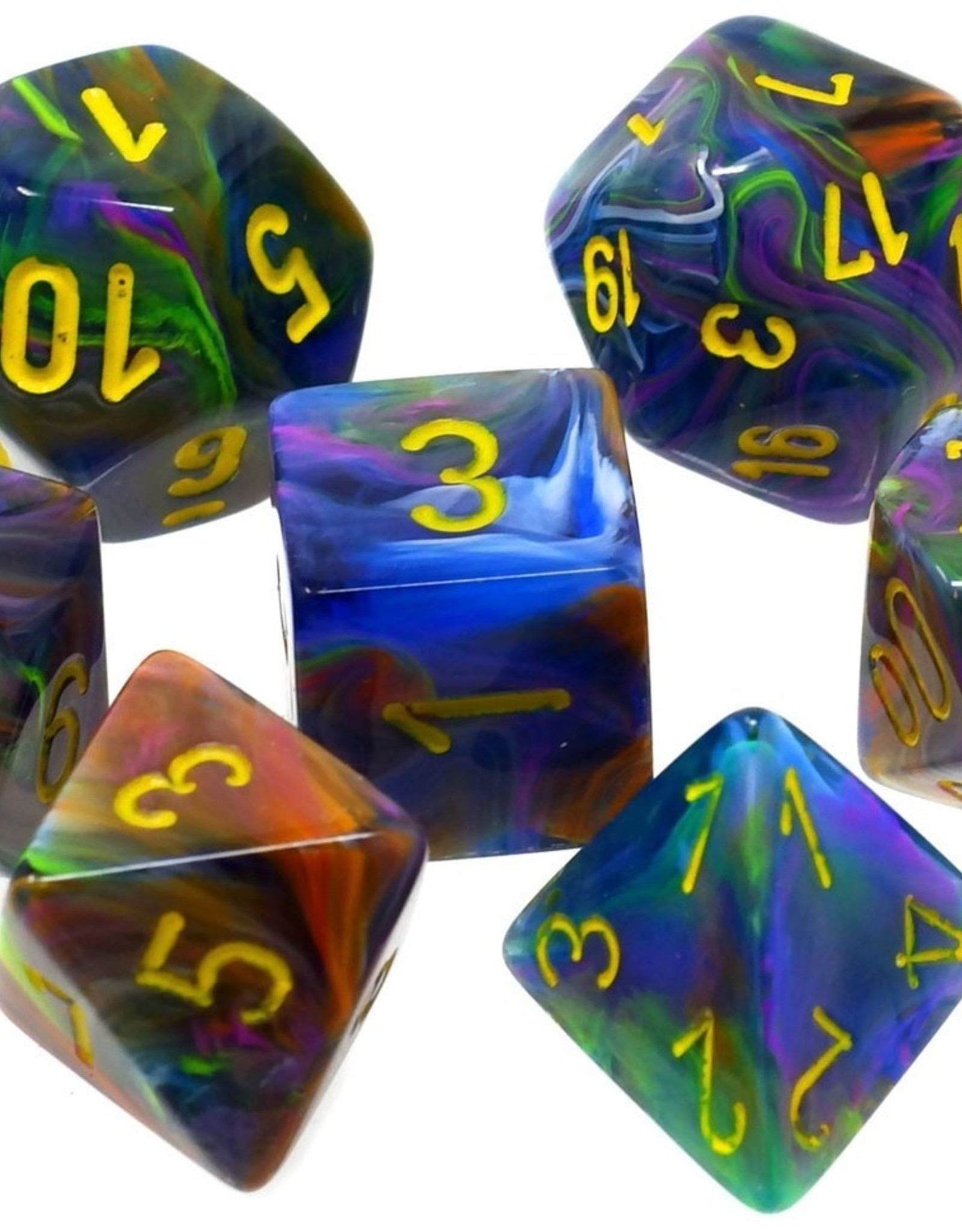 Chessex Chessex 7-Die set Festive - Rio/Yellow