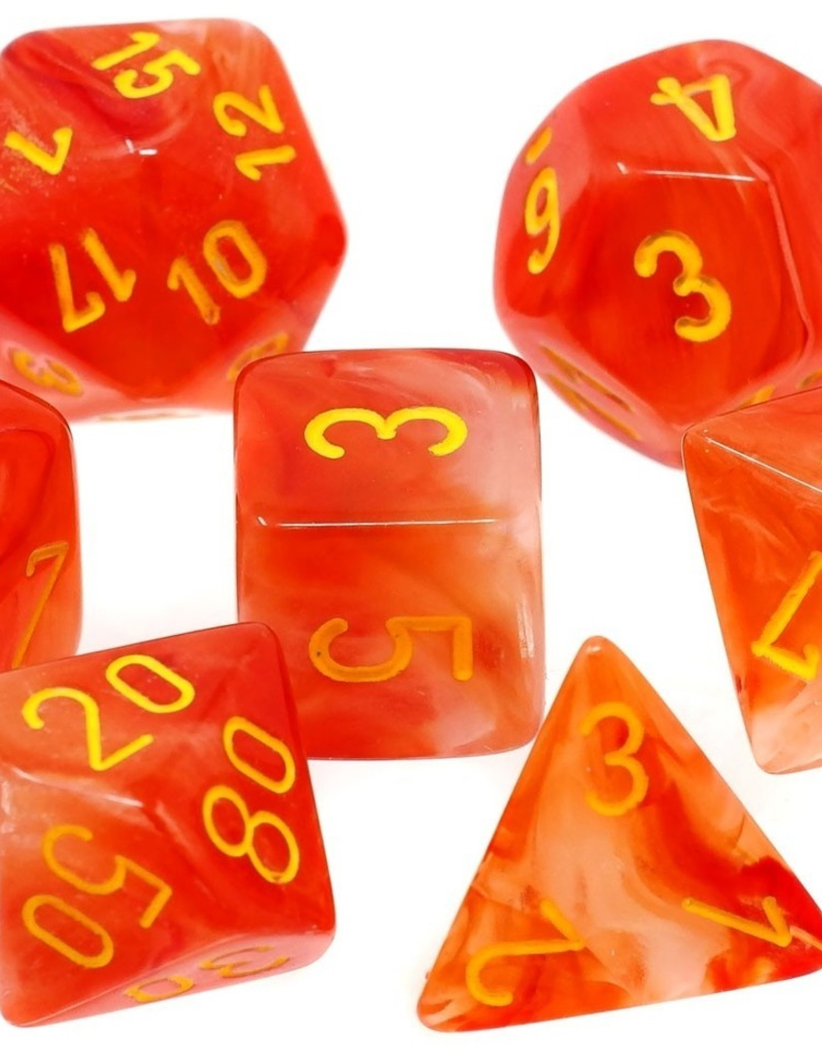 Chessex Chessex 7-Die set Ghostly Glow - Orange/Yellow