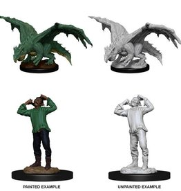 Wizkids D&D Nolzur's Marvelous Miniatures Green Dragon Wyrmling and Afflicted Elf