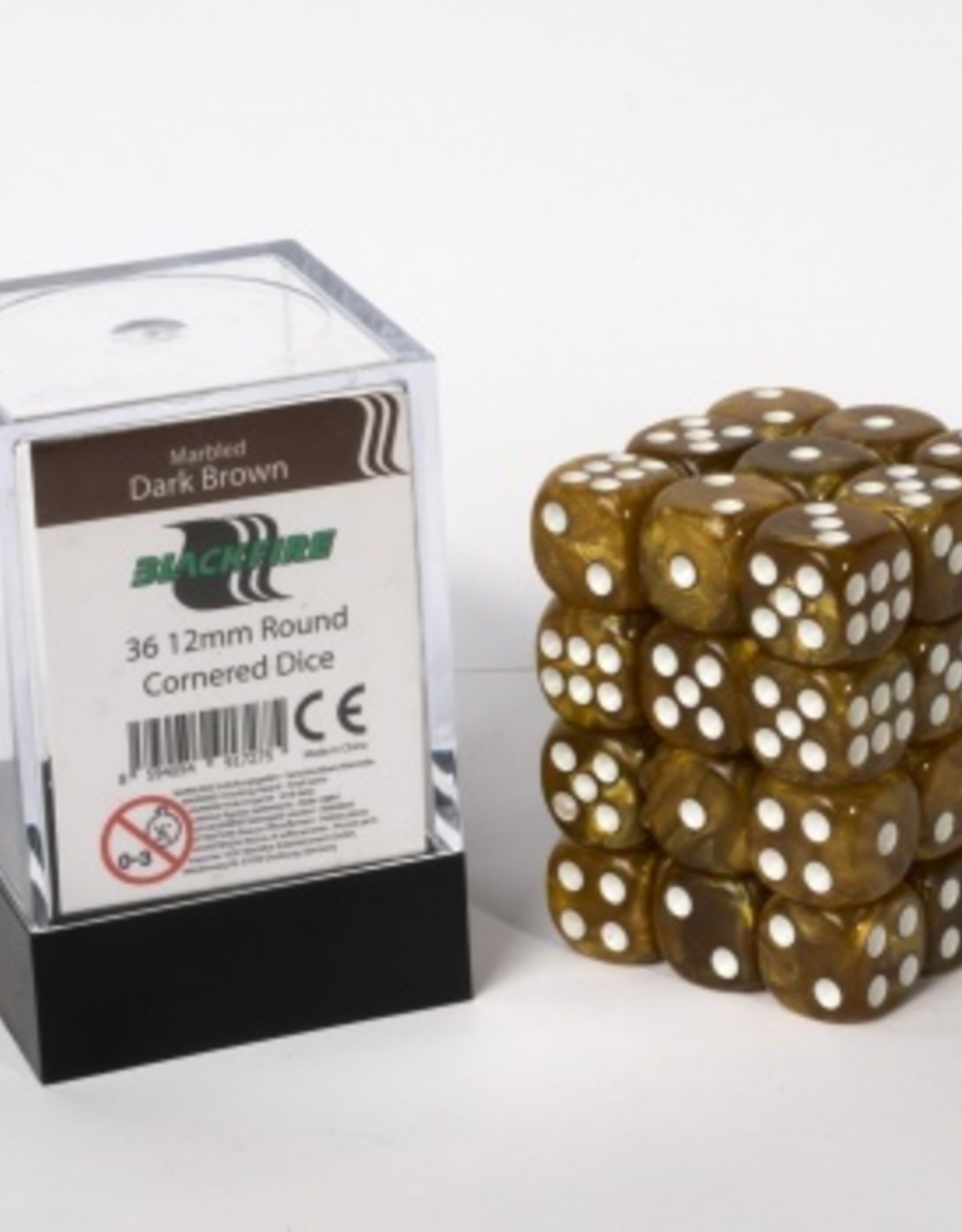 ADC Blackfire Dice cube 12mm - Marbled Dark Brown (36)