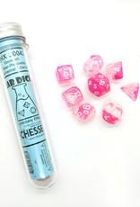 Chessex Chessex 8-Die set Lab Dice Gemini Luminary Clear-Pink/White