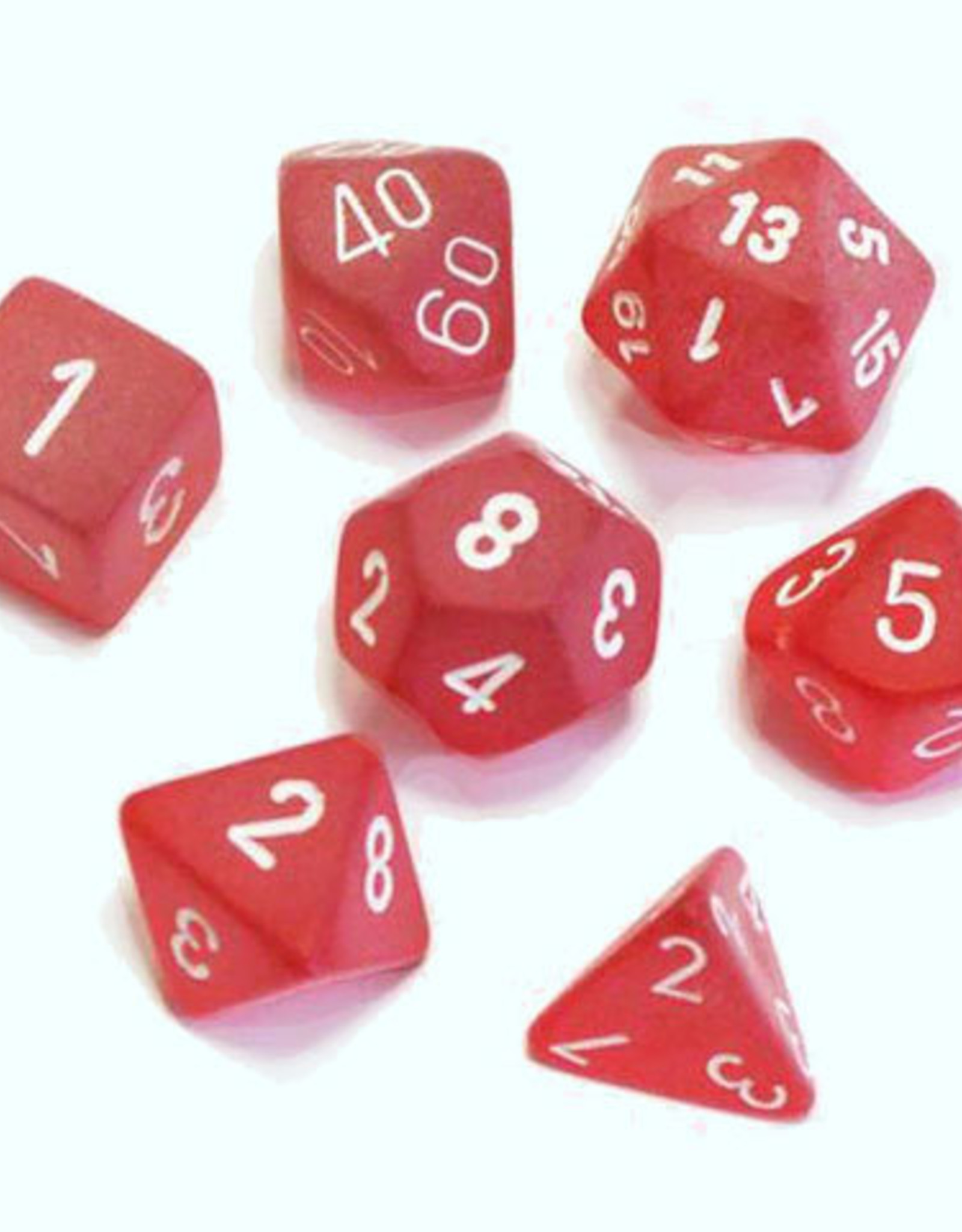 Chessex Chessex 7-Die set Frosted - Red/White