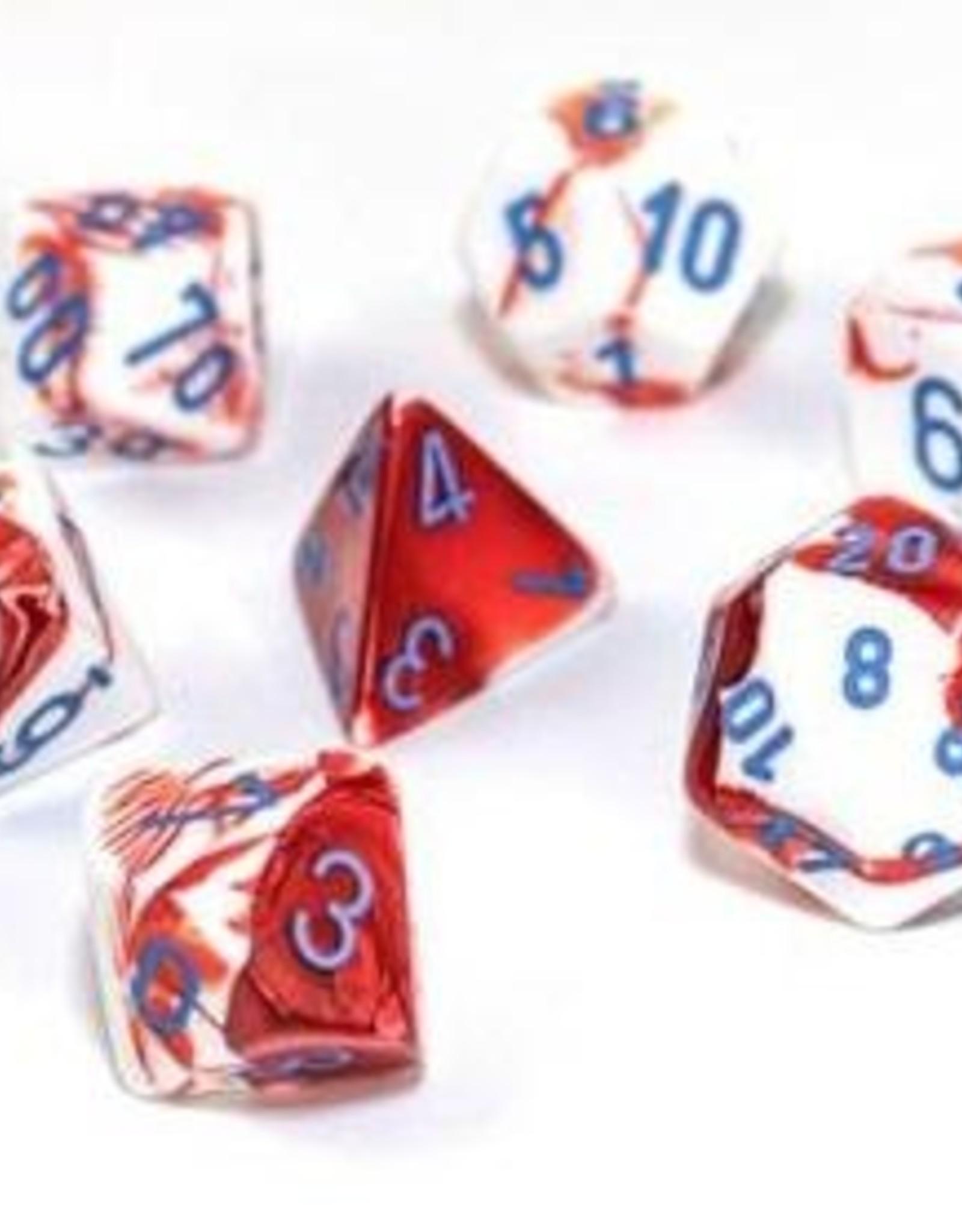 Chessex Chessex 7-Die set Lab Dice Gemini Red White/Blue