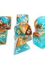 Chessex Chessex 7-Die set Lab Dice Gemini Copper Turquoise/White
