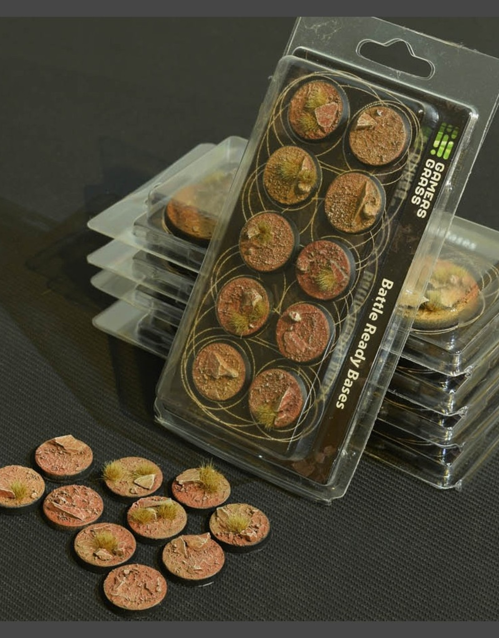 Gamers Grass Badlands Bases Pre-Painted (10x 25mm Round)