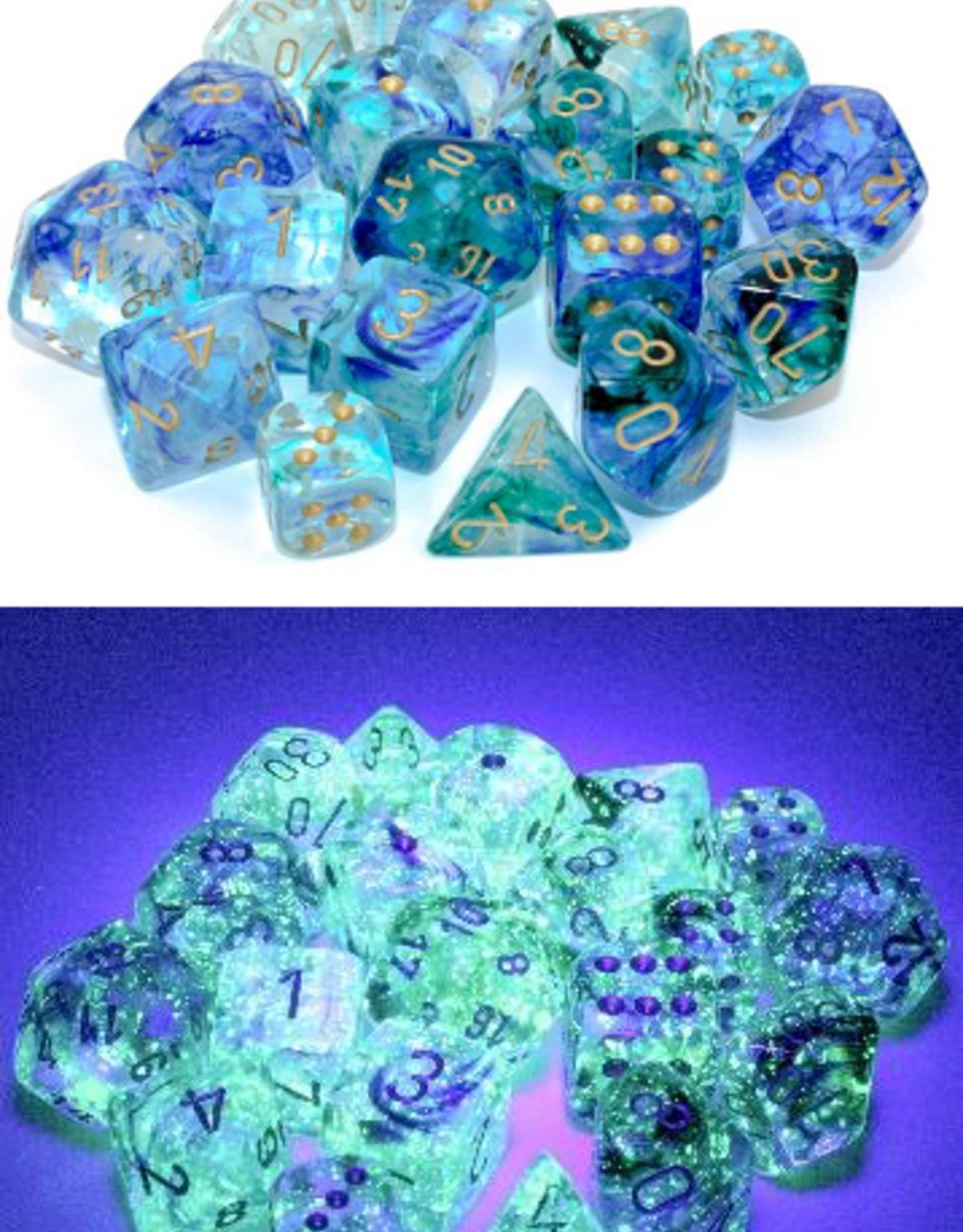 Chessex Chessex 7-Die set Nebula Luminary - Oceanic/Gold
