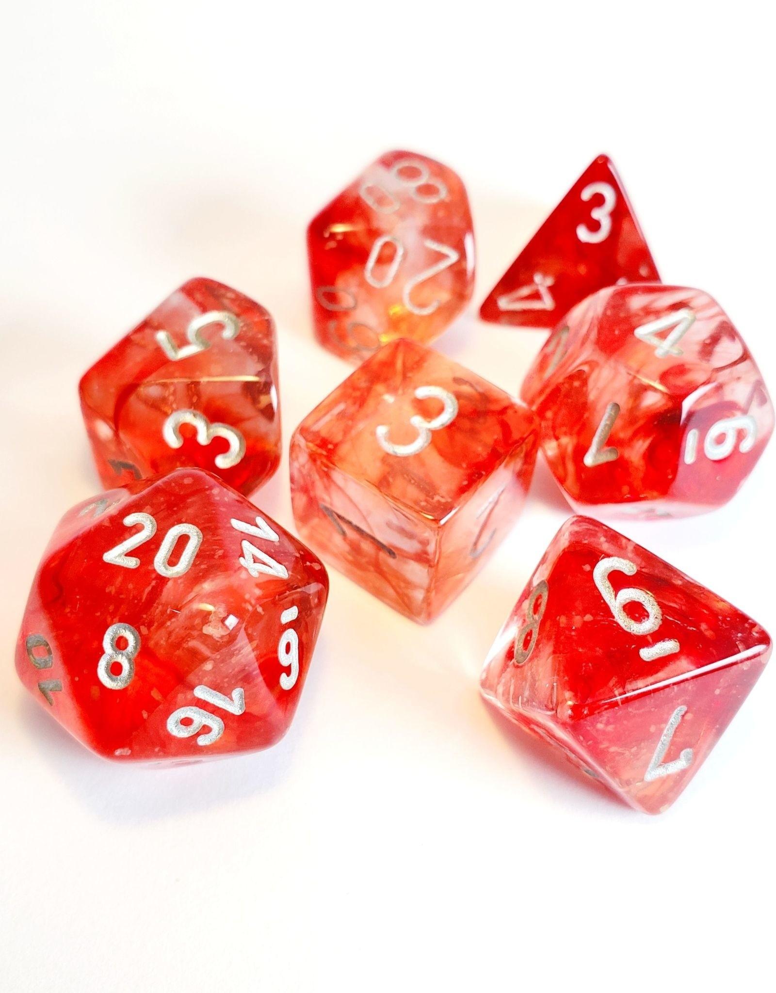 Chessex Chessex 7-Die set Nebula Luminary - Red/Silver