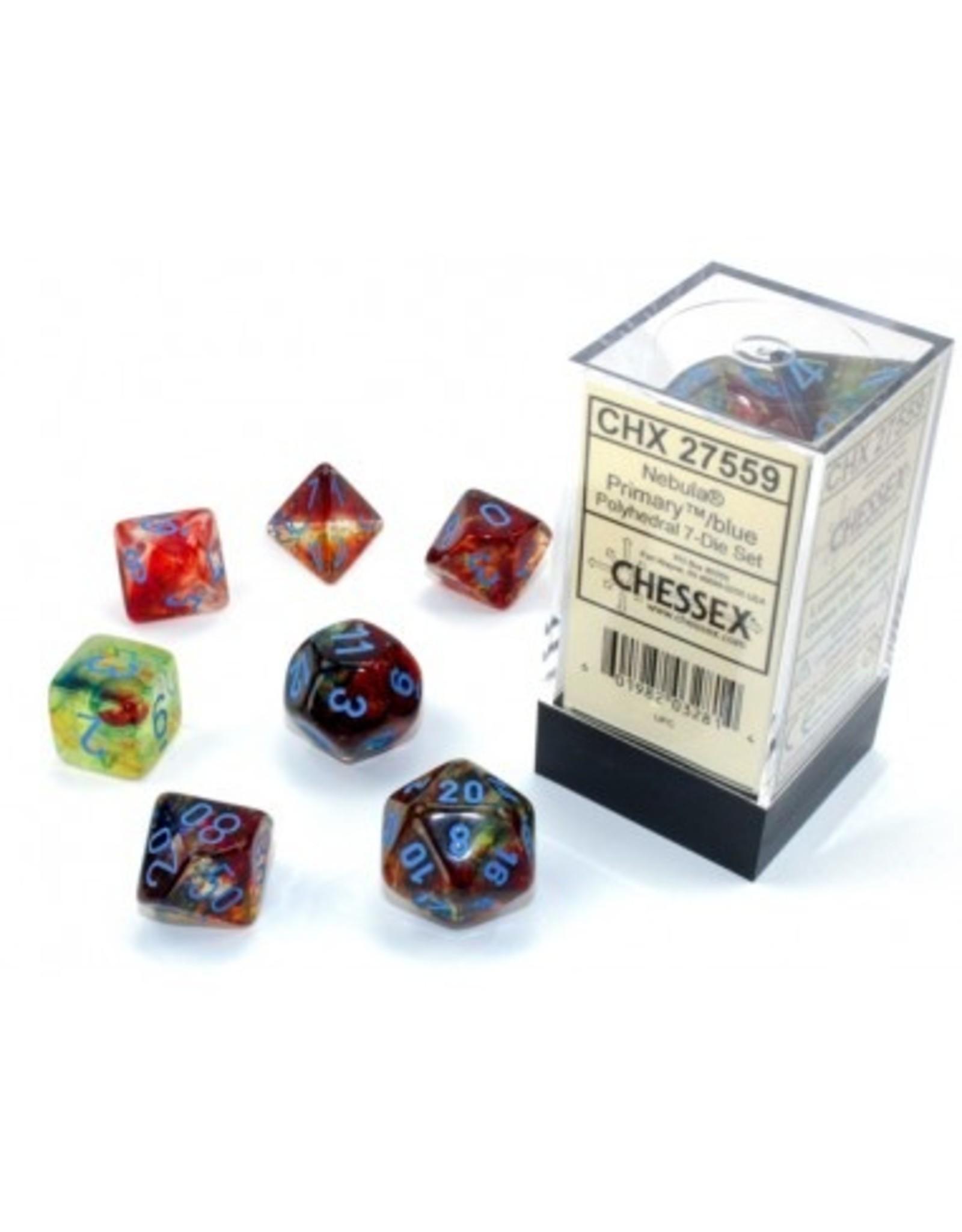 Chessex Chessex 7-Die set Nebula Luminary - Primary/Blue
