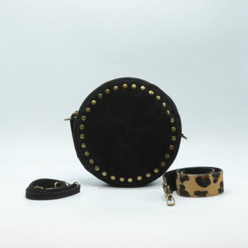 Celina - Suede - Crossbodytassen - Zwart - Luipaard