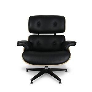 Lounge chair met voetenbank - zwart