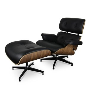 Lounge chair with ottoman - black