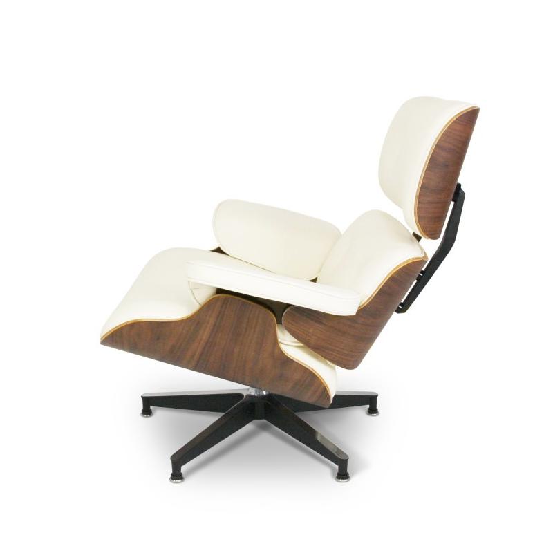 Lounge chair met voetenbank - créme