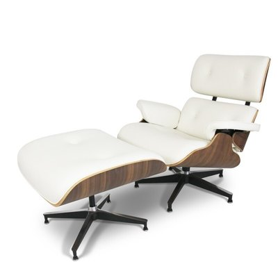 Lounge chair with ottoman - créme