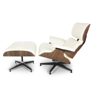 Lounge chair with ottoman - créme